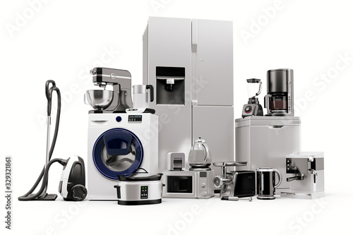 Photo 3d render of home appliances collection set
