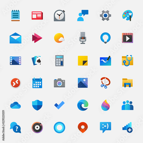 Fotomural set of colorful icons for the computer. vector illustration.
