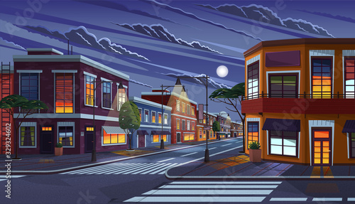 Street of town at night. Cityscape with old apartment houses and light in windows. Cartoon vector illustration of historic urban area. City street with vintage houses building. Old urban landscape