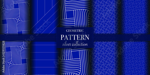 Fototapeta Set of 5 dark blue and silver luxury geometric pattern background. Abstract line, dot retro style vector illustration for wallpaper, flyer, cover, design template. minimalistic ornament, backdrop. obraz