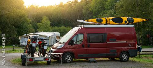 Fototapeta Camper vans in a camping park