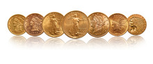 US  Dollars Gold Coins Isolated Of White Background