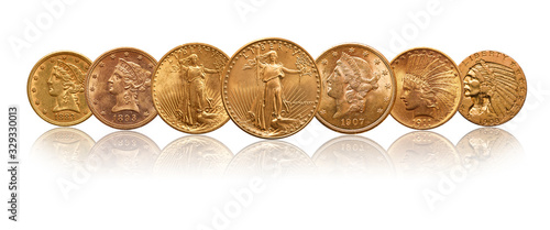 Photo US  Dollars Gold Coins isolated of white background