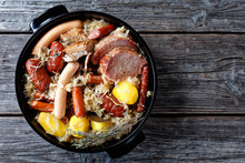 French Choucroute Garnie Of Sour Cabbage With Meat