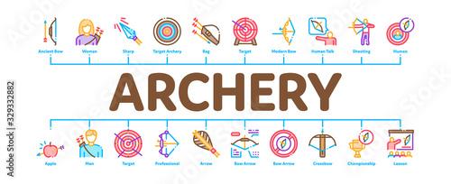 Archery Activity Sport Minimal Infographic Web Banner Vector Canvas Print