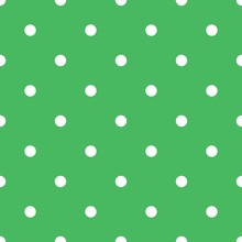Polka Dot Seamless Pattern With White Dots On Fresh Green Background. Elegant Design For Spring Wallpaper, Scrapbooking, Fashion Fabric And Home Decor Textile.