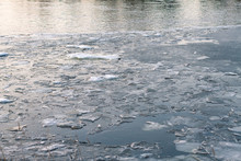 Floating Ice Floes On The Rive...
