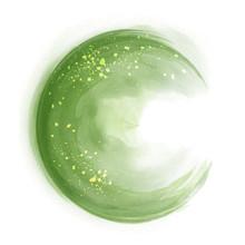 Green Circle Splash Brush Watercolor