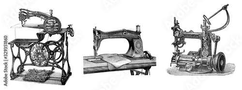 Collage of antique sewing machines/ Antique illustration from Brockhaus Konversa Canvas Print