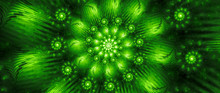 Green Glowing Spiral Banner Co...