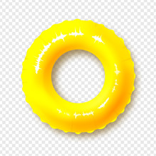 Bright Yellow Swimming Circle. Realistic Summer Illustration. Inflatable Rubber Toy For Child Safety.Lifebuoy. View From Above. Isolated On Transparent Background. Vector Illustration