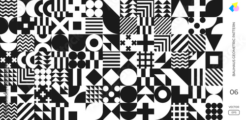 Fotografia Bauhaus pattern background, vector abstract geometric black and white circle, triangle and square lines