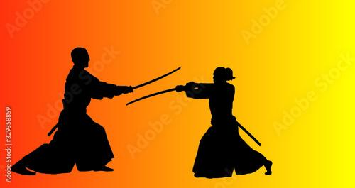 aikido sport silhouette. Canvas Print