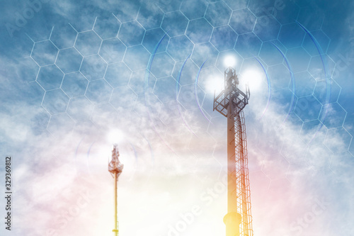 Telecommunications antenna against the clear blue sky with the image of the grid Wallpaper Mural
