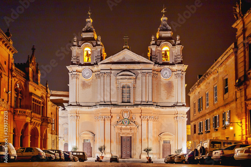 Illuminated Metropolitan Cathedral of Saint Paul, commonly known as St Paul's Cathedral or the Mdina Cathedral Canvas Print