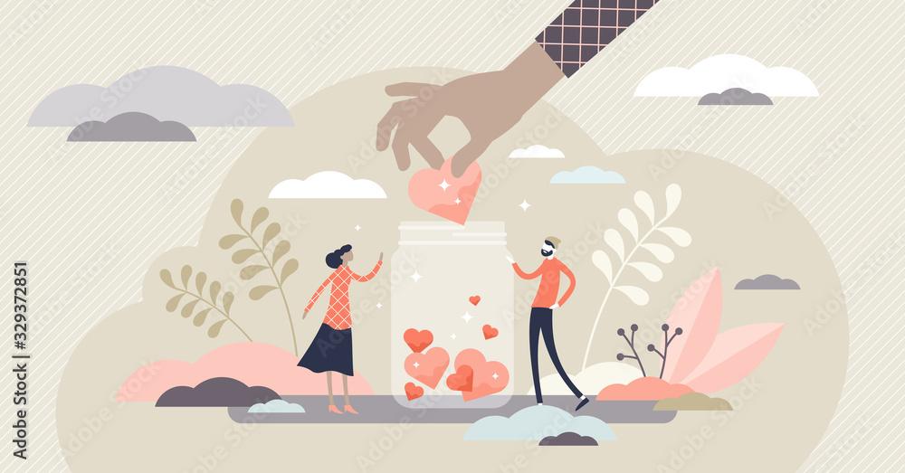 Fototapeta Support concept, flat tiny volunteer persons vector illustration