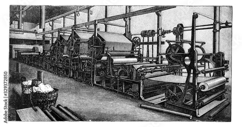 Valokuva Paper machine old printing press / Antique illustration from Brockhaus Konversat