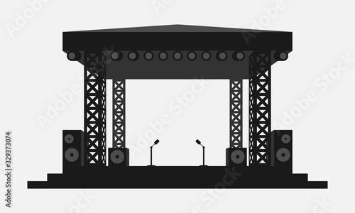 Outdoor concert stage black and white vector icon Fototapeta
