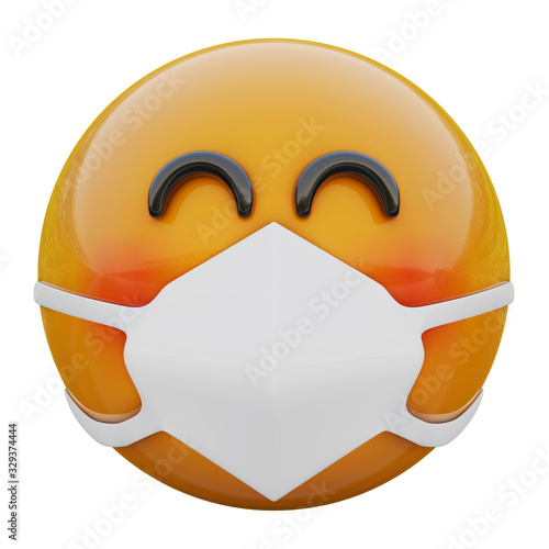 Fototapeta 3D render of happy blushing yellow emoji face in medical mask protecting from coronavirus 2019-nCoV, MERS-nCoV, sars, bird flu and other viruses, germs and bacteria and contagious disease