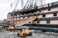 The Gangway Of HMS Victory In Portsmouth Dockyard, The Worlds Oldest Commissioned Warship, Nelsons Flag Ship From The Battle Of Trafalgar