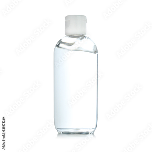 Obraz Bottle of antibacterial hand gel on white background - fototapety do salonu