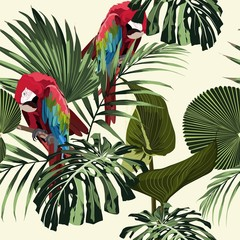 Fototapeta Do biura Tropical floral print. Parrot bird in the jungle in the exotic forest, seamless pattern for fashion, wallpaper and all prints on light backdrop.