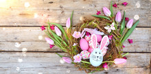 Easter Basket With Tulips, Egg...
