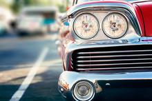 Classic Car Headlights Close-up, Car Street Show
