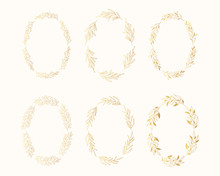Golden Floral Herb Oval Frames Set. Rustic Branch Gold Wreaths For Wedding. Vector Isolated Spring Flourish Borders.