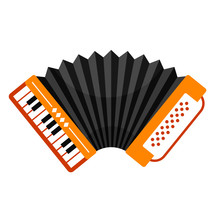 Accordion With Piano Keyboard, Folk Free Reed Musical Instrument