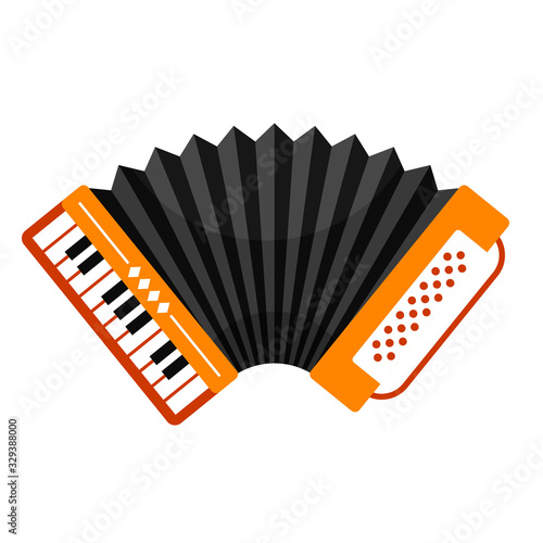 Photo Accordion with piano keyboard, folk free reed musical instrument