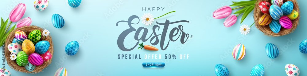 Fototapeta Easter poster and banner template with Easter eggs in the nest on light green background.Greetings and presents for Easter Day in flat lay styling.Promotion and shopping template for Easter