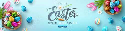 Photo Easter poster and banner template with Easter eggs in the nest on light green background