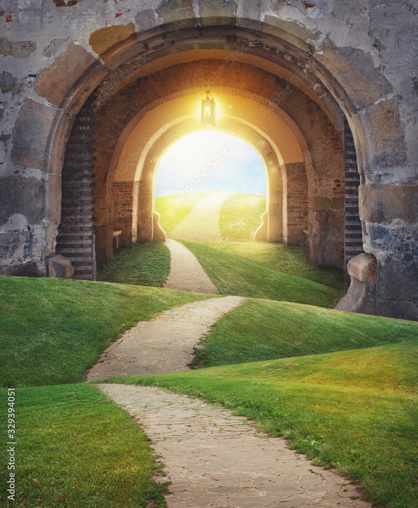 Fototapeta Fairy magic enchanted landscape with road and Mysterious gate entrance