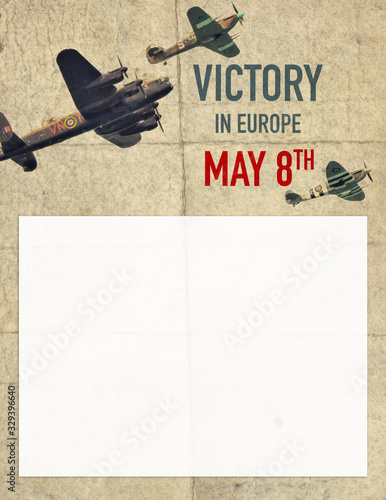 Poster background for UK Victory Day in Europe with historical British aircrafts Wallpaper Mural