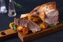 Roast Leg Of Lamb With Potatoe...