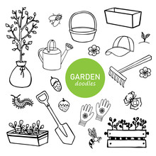 Black-white Set Of Garden Hand-drawn Doodle Elements, Tools, Plants, Insects. Vector Elements For Printing, Textile, Design, Logo.