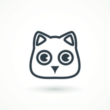 Cat Face Icon Vector On White ...