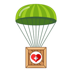 parachute with a box of humanitarian aid to the population. box flying down. flat vector illustration