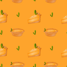 Cute Orange Pumpkin Pie Digital Art Textural Seamless Pattern On A Orange Background. Print For Fabrics, Packaging Bags, Paper, Boxes, Cards, Invitations, Banners, Posters, Stationery.