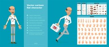 Cartoon Funny Scientist Or Doctor With Stethoscope And Glasses. Ready For Animations. Face Expressions, Eyes, Brows, Mouth And Hands Easy To Edit. Isolated On Blue Background. Big Vector Icon Set.
