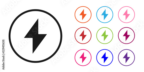 Obraz Black Lightning bolt icon isolated on white background. Flash sign. Charge flash icon. Thunder bolt. Lighting strike. Set icons colorful. Vector Illustration - fototapety do salonu