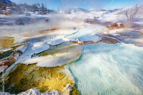 Fotografie, Tablou Detail on upper Mammoth Hot Springs with steamy terraces during winter snowy sea