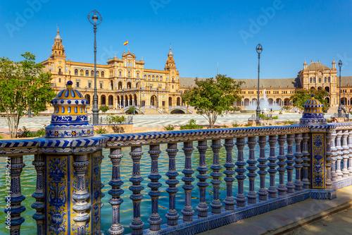 Photo Plaza de España in Sevilla, der Hauptstadt von Andalusien.