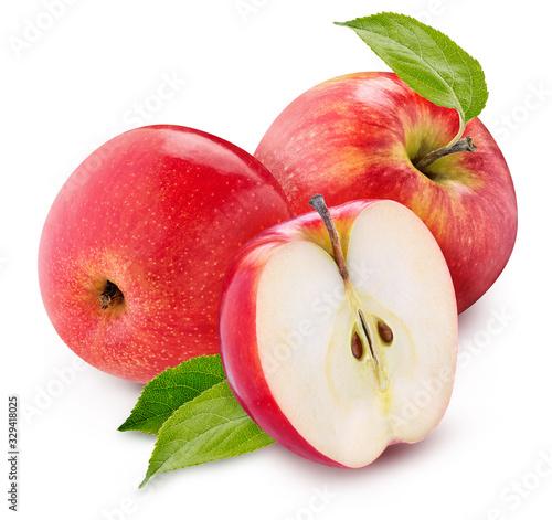 Obraz na plátně red apple set isolated on a white background