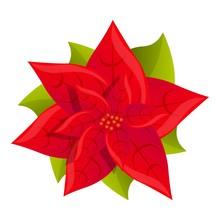Red Poinsettia Icon. Cartoon O...