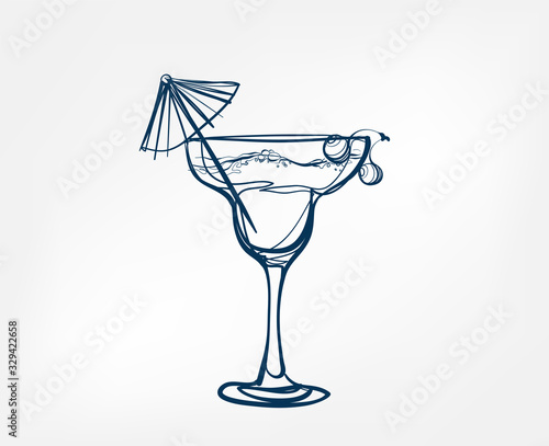 cocktail vector one line art drink isolated sketch Fotomurales