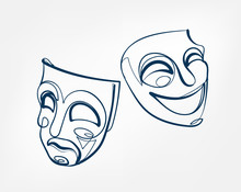 Mask One Line Vector Isolated ...