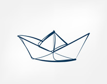 Paper Ship One Line Vector Iso...