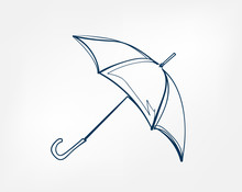 Umbrella One Line Vector Isola...